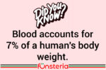 Blood accounts for 7% of a human's body weight.