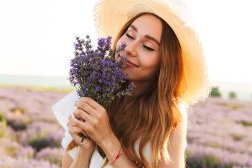 smelling flowers/lavender